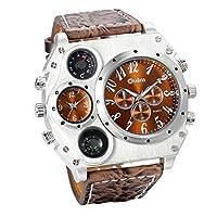 """*Achtung: Marke: JewelryWe; Kompass und Thermometer sind nein tatsächlich Funktion, nur als Dekorationen Armbanduhr Größe:Gesamtlänge: 10.8""""(27.5cm), Gehäusedurchmesser: 2.3""""(5.8cm), Dicke: 0.55""""(1.1cm), Bandbreite:0.94""""(2.4cm) Material: Legierung-Qu..."""