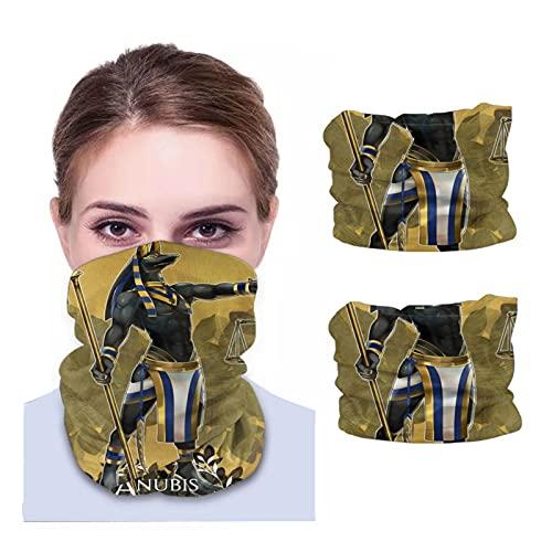 Neck Gaiter Bandana Men Women Egypt Anubis Lucky Novelty Tall Half Face Protective Balaclava Headwear Headgear Safety Head Cover 2 Pcs Black