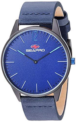 Seapro SP0105 - Orologio al quarzo da uomo, con foro nero, cinturino in pelle blu, 40 mm