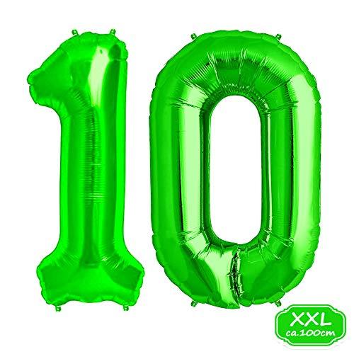 FUNXGO Folienballon Zahl in Grün - XXL / ca.100cm Riesenzahl Ballons - Folienballons für Luft oder Helium als Geburtstag, Hochzeit , Jubiläum oder Abschluss Geschenk, Party Dekoration (Grün [10])