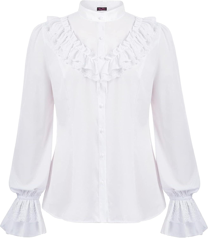 Women's Vintage Victorian Blouse Plus Size Lotus Long Sleeve Gothic Lolita Tops