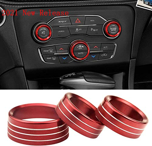3pcs Air Conditioner Switch CD Button Knob for Dodge Challenger Charger Chrysler 300 300s 2015-2019, for Ram 2013-2018 (Aluminum Alloy Red)
