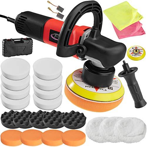 TecTake Máquina de pulir excéntrico pulidora limpieza + XXL accesorios 15 set