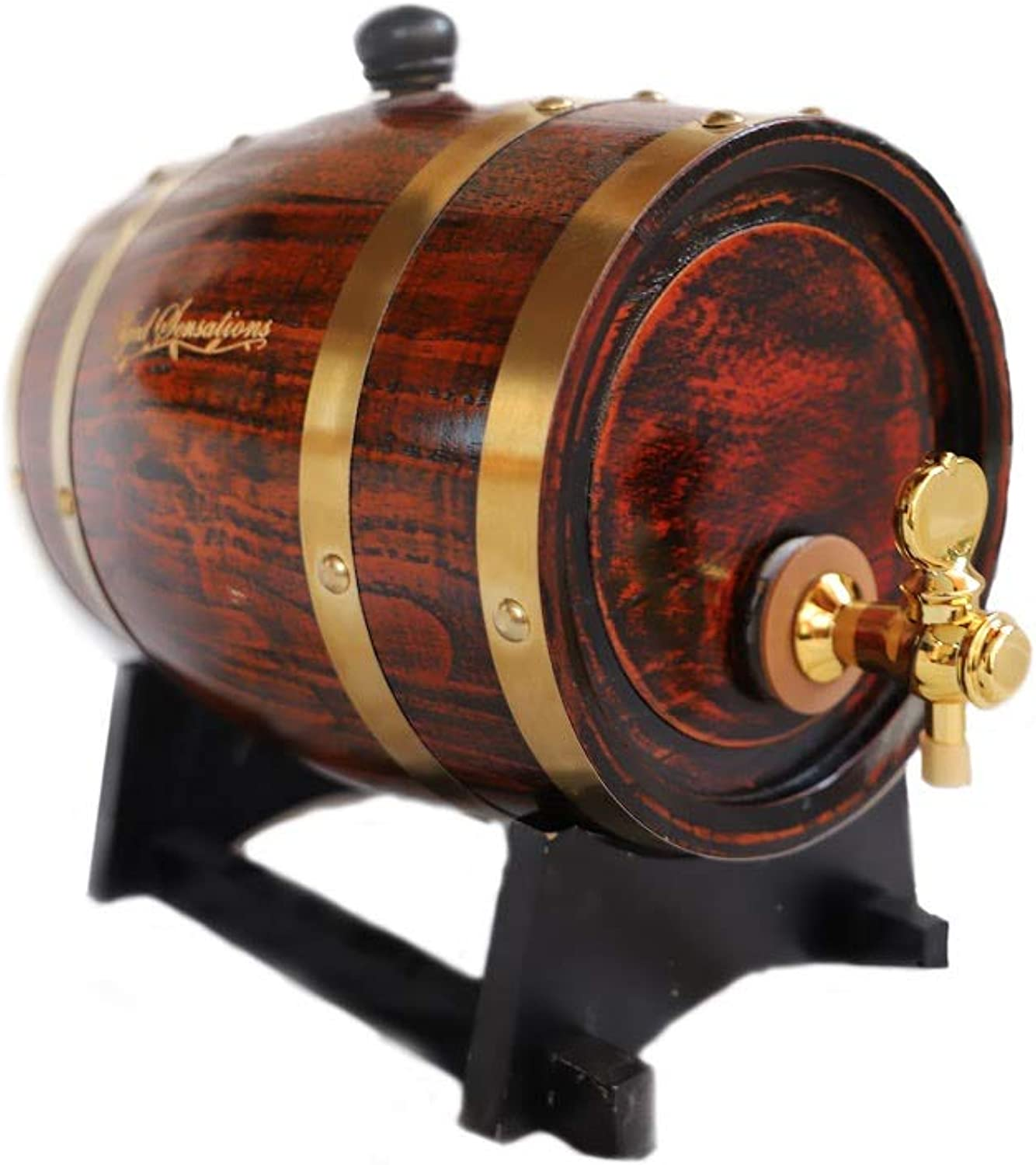 "PREMIUM OAK ""Aged Sensations"" (3 Liter) Home Whiskey Barrel Dispenser for Wine, Spirits, Beer, and Liquor  Holds ENTIRE Bottle Handle"
