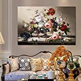 KBIASD Pintura en Lienzo Carteles e Impresiones de Naturaleza Muerta Europea clásica Arte de la Pared Pintura en Lienzo Arreglo de Flores Cuadros Decoración para Sala de estar-50x70cm Sin Marco