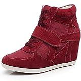rismart Mujer Tacón De Cuña Velcro Brogue Casual Ante Zapatillas Zapatos 8522(Vino Rojo,39 EU)