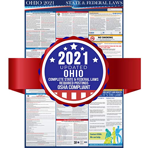 """2021 Ohio State and Federal Labor Laws Poster - OSHA Workplace Compliant 24"""" x 36"""" - All in One Required Posting - Laminated"""