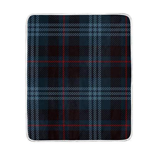 SS Blanket Manta de Cuadros Escoceses Azul Oscuro Suave y cómoda para sofá, Silla, Cama, Oficina, Viajes, Camping, tamaño de Manta para niños de 50 x 60 Pulgadas