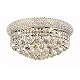 Elegant Lighting 1800F16C/RC Primo Collection 8-Light Flush Mount Royal Cut Crystals with Chrome Finish