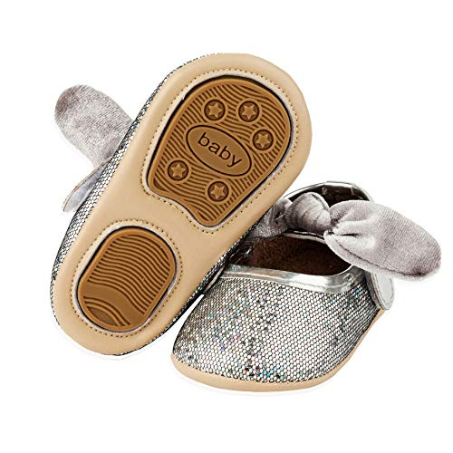 SOFMUO Baby Girls Sparkly Mary Jane Shoes with Bowknot Infant Ballet Flats Non-Slip Rubber Sole Toddler Ballerina Princess Wedding Dress Shoes(Silver,0-6 Months