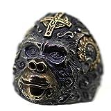 ANAZOZ Schmuck Ring Sterling Silber 925 Herren Bandringe Schmuck Orang Utan Mit Kreuz Muster Siegelring Unisex Schwarz Gold Große 61 (19.4)
