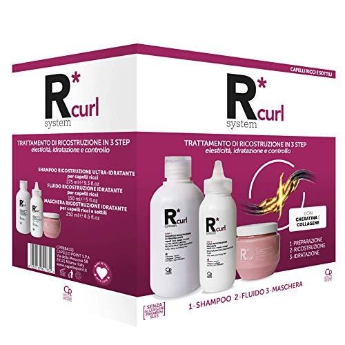 R*System Curl - Trattamento Professionale di Ricostruzione Capelli Ricci - Contiene lo Shampoo Ultra-Idratante, il Fluido di Ricostruzione Idratante e la Maschera Ricostruzione Idratante