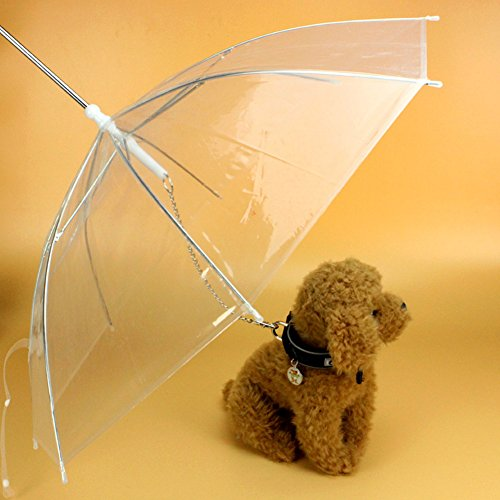EMVANV Paraguas de perro con correa fácil de ver transparente plegable para cachorro paraguas para perros pequeños cachorros 50,8 cm de largo de espalda lluvia nieve húmedo clima