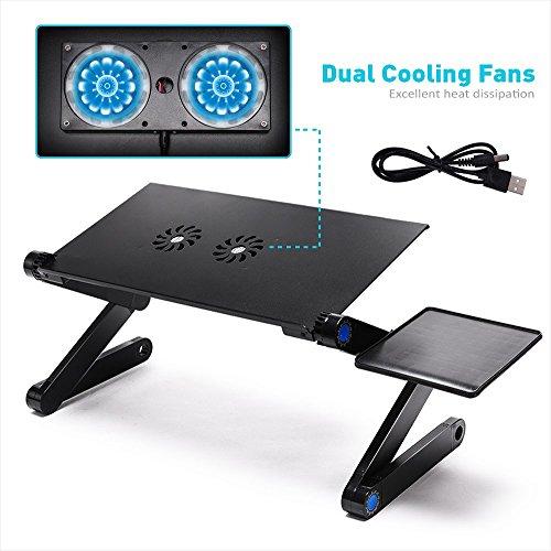 LONGKO 360° Verstellbarer Laptop Notebook Ständer ergonomischer Tisch Tablet Halterung mit 2 Lüfter Ablage für die Maus für CouchBett Sofa (Schwarz)