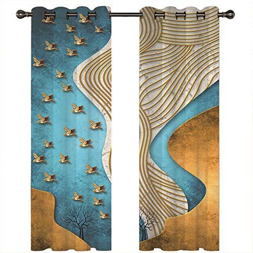 AMDXD Cortina Poliester Salon, Cortinas de Ventana Dormitorio Pintura Abstracta Pájaros y Árbol Cortinas Opacas Decoradas (2 Paneles, Amarillo Azul, Tamaños 264x160CM)