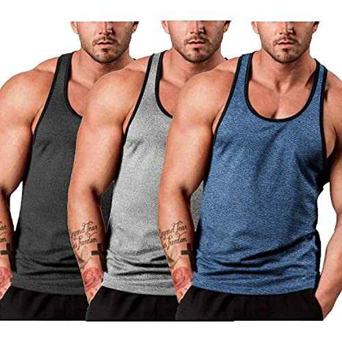 COOFANDY Men's Gym Tank Tops Y-Back Workout Muscle Tee 3 Pack Fitness Sleeveless T Shirts Athletic Trainning Tank