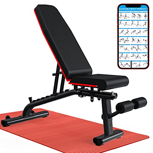 KingStone Workout Bench- Four-in-One Adjustable Weight Bench with Easy Installation, Strength Training Exercise Bench For Full Body Workout, Incline Decline Flat Press Workout Bench For Home Gym
