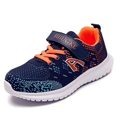 FIHUGKE Kinder Schuhe Sportschuhe Ultraleicht Atmungsaktiv Turnschuhe Klettverschluss Low-Top Sneakers Laufen Schuhe Laufschuhe für Mädchen Jungen 28-37, Dunkelblau Orange-a, 30 EU