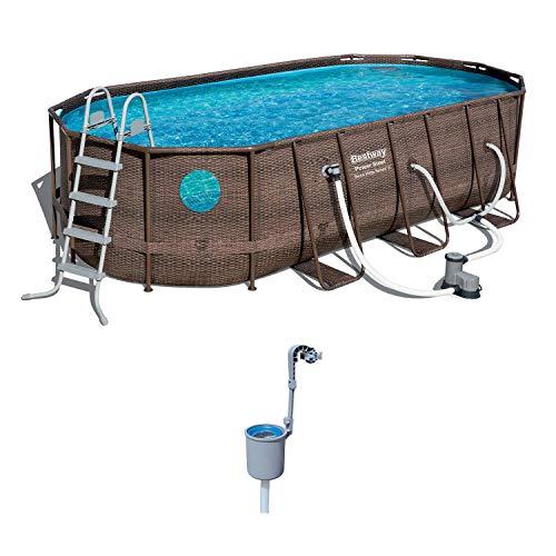 Bestway 18 x 9 x 4 Foot Power Steel Swim Vista Pool Set and Pool Surface Skimmer