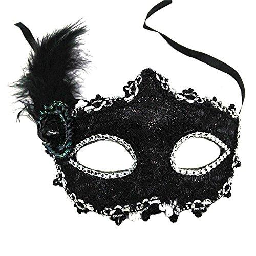 Hosaire 1x Máscara de Encaje Forma de Pluma,Mujeres Antifaz para Mascarada Veneciano Carnaval Halloween Fiesta de Baile Disfraces Juguetes para Pareja Size 20 * 25cm (Negro)
