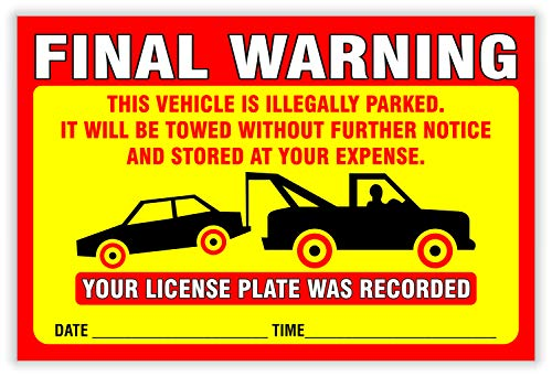 """Final Warning Stickers (Pack of 50) Parking Violation Notice Vehicle is Illegally Parked - Large Size 6"""" X 9"""" – Yellow Photo #7"""