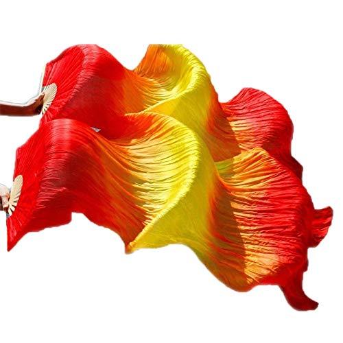 シルクファンベール 2本セット シルク100% ベリーダンス ファンベール シルクファンベール ベール シルク 衣装 扇子 団扇 舞台 小道具 アクセサリー 扇子 団扇 180 * 90 cm (赤黄赤)