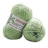 Winkey - Hilo de lana para tejer, 100% algodón de bambú, cálido, suave, natural, 50 g, para mantas, suéter U