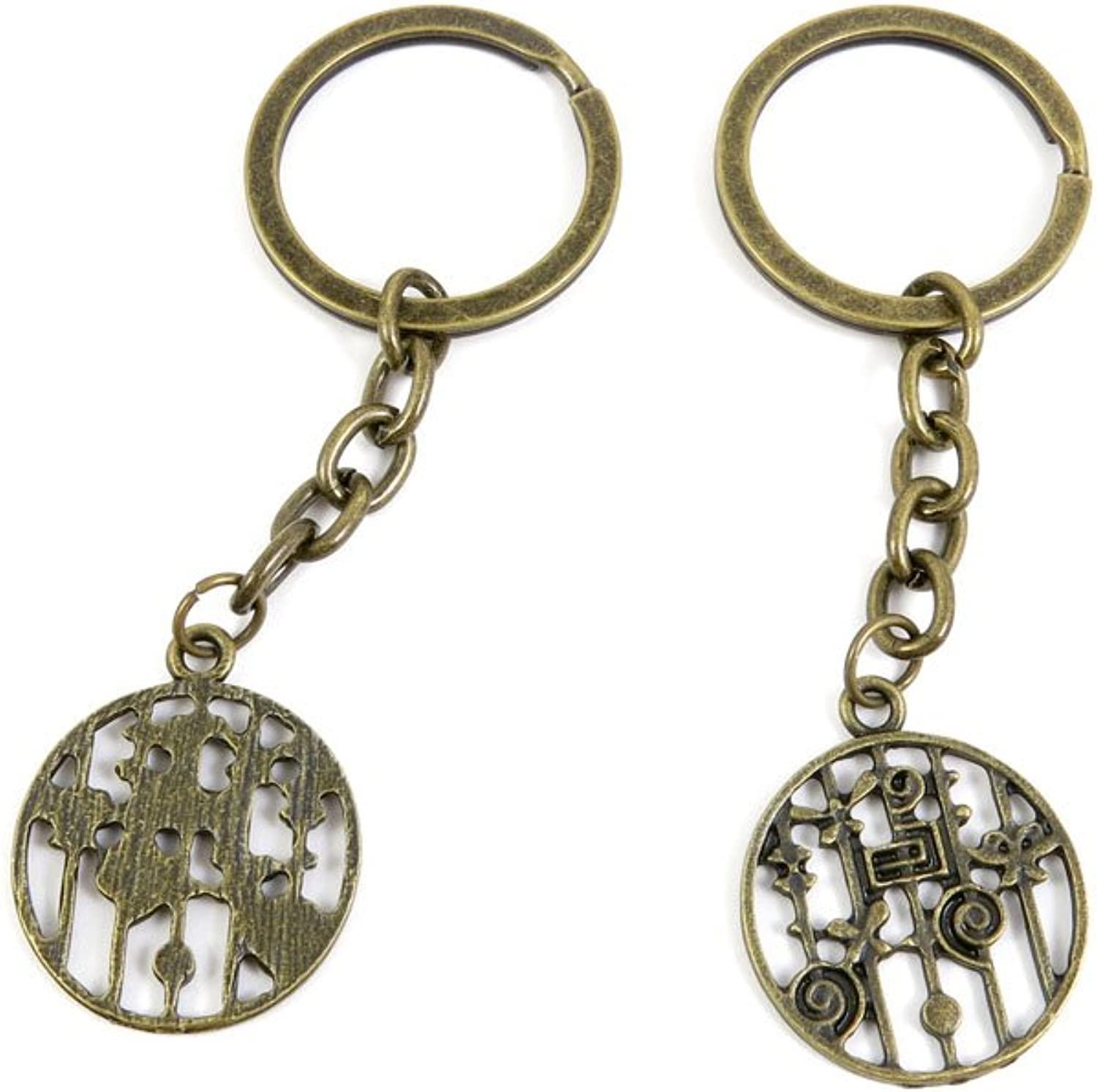 80 PCS Keyring Car Door Key Ring Tag Chain Keychain Wholesale Suppliers Charms Handmade S2ZV7 Flower Round Signs