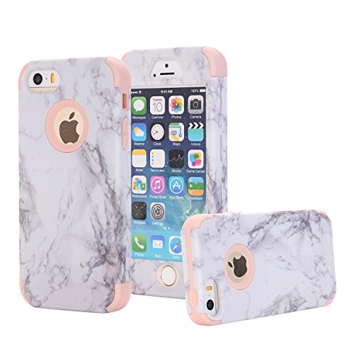 iPhone 5S Case, iPhone 5 Case, iPhone SE (2016) Case, Ankoe Marble Stone Pattern Shockproof Full Body Protective Cover Dual-Layer Slim Soft Flexible Silicone and Hard PC for Apple iPhone SE/5S/5