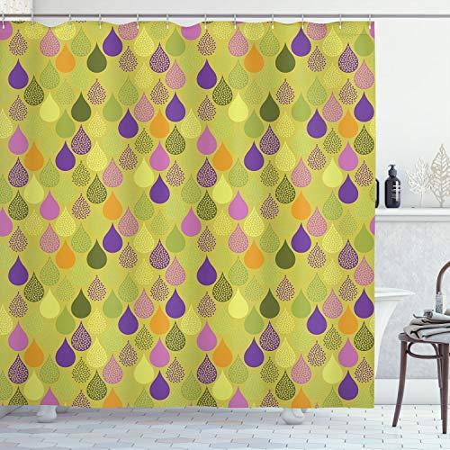Ambesonne Cortina de ducha geométrica, diseño de gotas de lluvia con forma de hoja creativa y colorido tema de bebé, juego de decoración de baño de tela con ganchos, 177,8 cm de largo, verde pálido