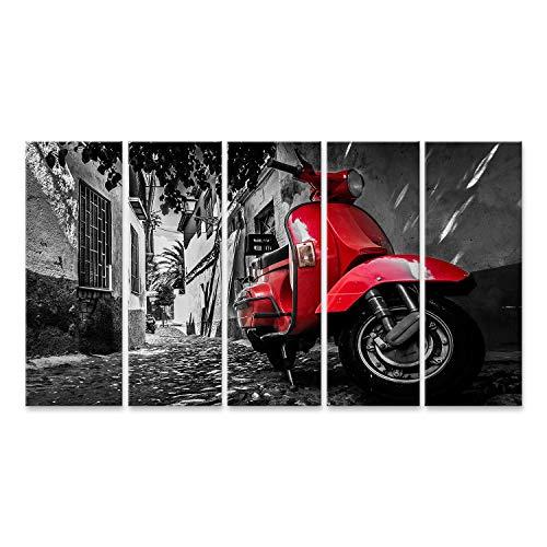 Bild Bilder auf Leinwand EIN roter Vespa-Scooter der auf Einer gepflasterten Straße geparkt ist Wandbild Poster Leinwandbild Tik
