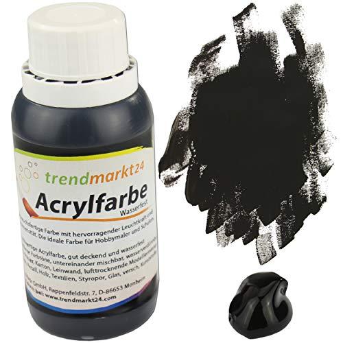 trendmarkt24 Acrylfarbe Schwarz 150 ml in der Tube/Flasche Malfarbe flüssig stark pigmentierte Bastelfarbe Acryl | Farbe für Holz Glas Gips Ton Metall Textilien Styropor Beton uvm.