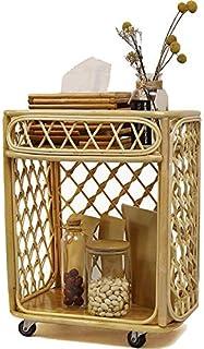 Storage Cart Bois avec Roues Chariot de Cuisine, Chariot de Rangement Robuste Polyvalent, Étagère Mobile de Salon, pour Bu...