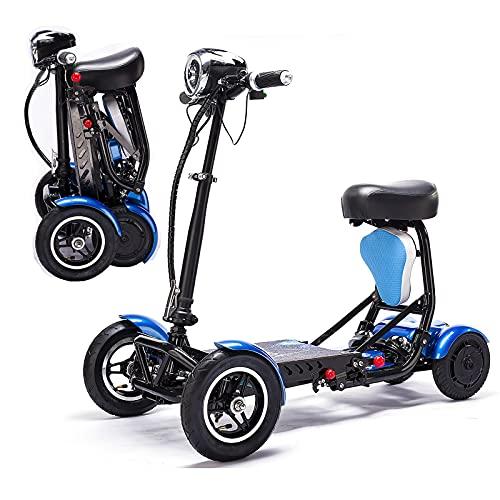 Scooters Eléctricos Plegables De 4 Ruedas, Sillas De Ruedas Móviles Ligeras Scooter De Movilidad Compacto Portátil Con Asiento Para Adultos Ancianos Discapacitados Viajes (Azul,36V/15.6AH/40KM