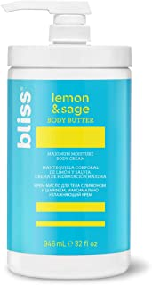 Bliss Lemon & Sage Body Butter Daily Moisturizing Cream for Dry Skin – Quick Absorbing, Long Lasting and Free of Paraben and Sulfates, 100% Vegan and Deeply Nourishing, 32 oz