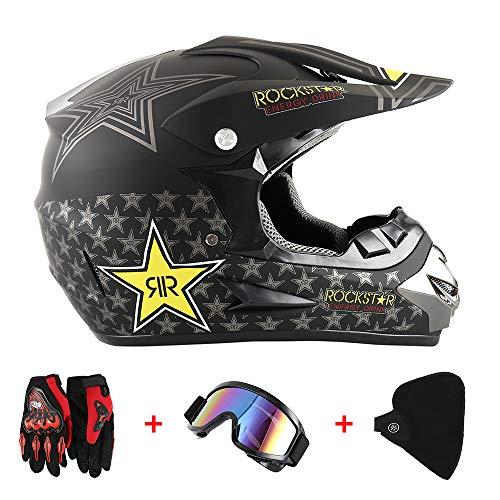 Windyeu 4pcs Juego para Motocross, Casco de Moto (34 * 25cm) + Gafas + Guantes de Motocicleta + Mascarilla, para Hombre Mujer (Rockstar)