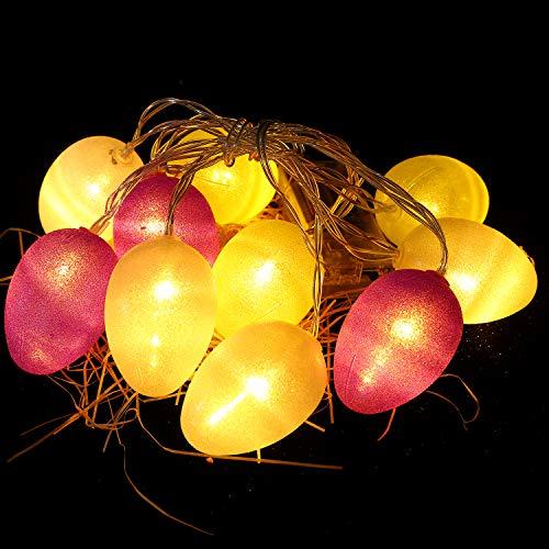 Herefun Ostern Lichterketten, 10 LED Lichterketten Ostereier String Lights Ostern Schnurlicht Ostereier Oster Lichterkette für Ostern Aaisonale Dekorationen