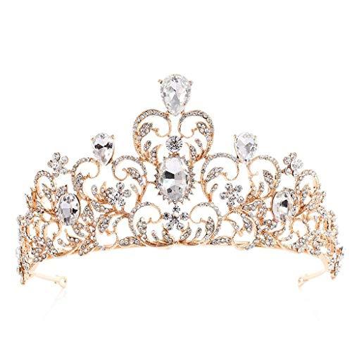 NXYJD Las Coronas de Novia Tiaras de Cristal Prom Queen Rhinestone de la Corona del Concurso de Coronas Princesa Corona for Muchachas de Las Mujeres (Color : C)