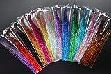 Tigofly - 13 paquetes de 13 colores holográficos de 0,3 mm, espumillón brillante de cristal de destello de trucha con materiales para atar moscas