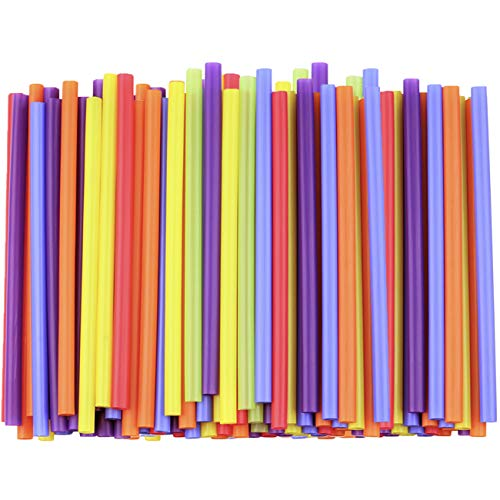 [200 Pack] Jumbo Smoothie Straws, Assorted Colors