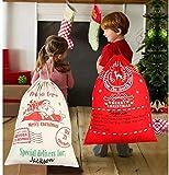 BUZIFU 2 Pezzi Grandi Sacchi di Babbo Natale, Sacchetto Babbo Natale per Regalo, Molto Grande e Capiente, con Cordini per Regali di Natale per Bambini (50*70CM)