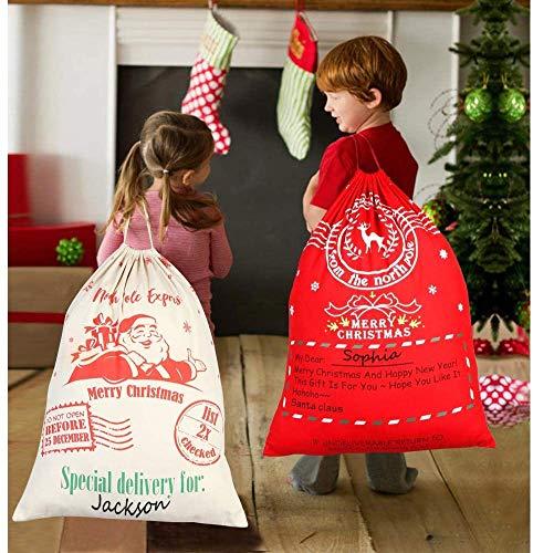 BUZIFU Sacos de Papá Noel Rojo y Beige, 2 unidades Sacos para Regalos de Navidad con Cordón 50 cm x 70 cm Sacos de Santa Claus de Gran Capacidad con Dibujos Impresos Bonitos, para Papá Noel o Niños