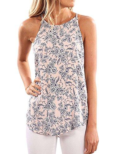 Sherosa Women's Casual Spaghetti Strap Floral Print Tank Tops Camis Shirt (M, Apricot)