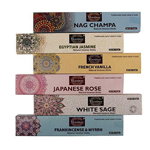 Raajsee Bio-Räucherstäbchen 15gx 6 Packung ,Nag Champa,Jasmin,Vanille, japanische Rose, weißer Salbei,Weihrauch & Myrrhe, Frei von Chemikalien, 100 % Rein Organisch Handgerollt