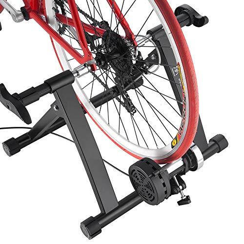 QXT Fahrradübung Silent Liquid Resistance Bike Trainer MTB Rennrad Indoor Fitness Wettbewerb Falttraining Rack,Schwarz