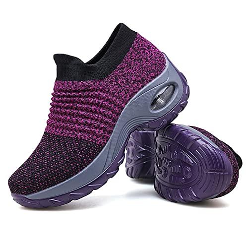 Women's Walking Shoes Sock Sneakers - Mesh Slip On Air Cushion Lady Girls Modern Jazz Dance Easy Shoes Platform Loafers Purple,5.5