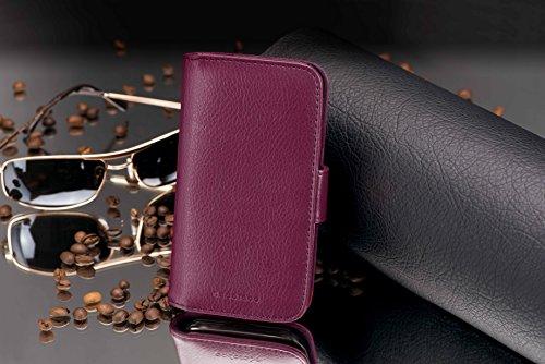 Cadorabo Hülle für Huawei Ascend Y330 - Hülle in Bordeaux LILA – Handyhülle mit Kartenfach aus struktriertem Kunstleder - Case Cover Schutzhülle Etui Tasche Book Klapp Style - 4