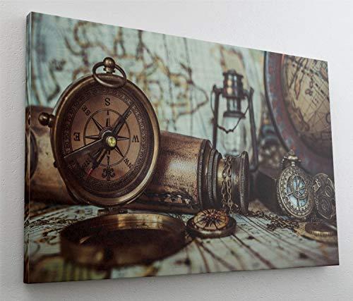 Kompass Karte Antik Retro Leinwand Bild Wandbild Kunstdruck L0982 Größe 70 cm x 50 cm