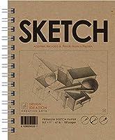 Design Ideation Sketch : 鉛筆、インク、マーカー、チャコール、水彩画用マルチメディアペーパースケッチブック アート、デザイン、教育に最適 アメリカ製 8.5インチ x 11インチ (1)