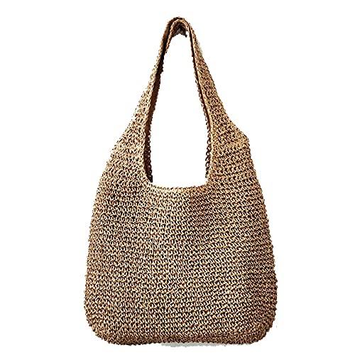 Onwaymall Bolso de hombro de paja tejida a mano para mujer, bolso grande de verano con asas de cuero para playa, bolso cruzado de verano (1 unidad, café)